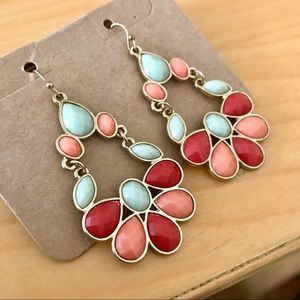 Earrings Coral Mint Red Caribbean Dangle